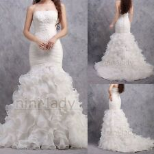 White Ivory Lace Mermaid Bridal Gown Wedding Dress Custom Size 6 8 10 12 14 16