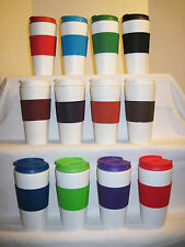 Coffee Cup Travel Mug 16oz Reusable Rubber Sleeve Grip Insulated Flip Top Thermo