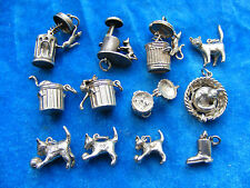 VINTAGE STERLING SILVER CHARM - VARIOUS CAT CATS