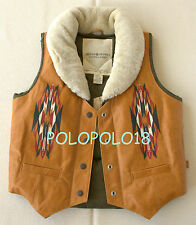 New $498 Ralph Lauren Denim Supply Women Leather Down Shearling Vest S M