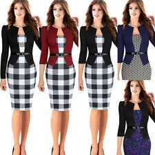 Womens Elegant Tartan Colorblock Tunic Business Party Pencil Sheath Dress 068