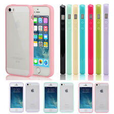 Iphone 5 5S Case Hard Matte Clear Back Case with Soft Silicone TPU Bumper Cover