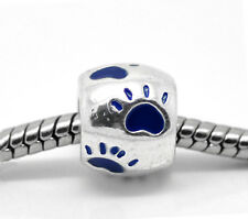 Wholesale Lot Dark Blue Enamel Dog's Paw Charm Bead Fit Charm Bracelet 10x9mm