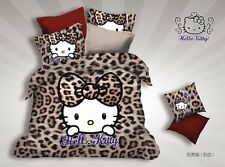 ** Leopard Hello Kitty Single Bed Quilt Cover Set - Flat or Fitted Sheet **