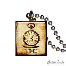 Reclaimed Scrabble Tile Pendant Necklace - Vintage Stop Watch Time Piece