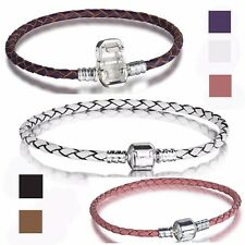 Leather silver Bracelets Chain bangle Fit European sterling 925 Charms Beads