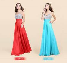 2014 Bride Long Chiffon Bridesmaid Evening Formal Party Ball Gown Prom Dress Ice