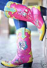 DD9014A DD Ranch Lane Retro Rodeo Hot Pink Soft Yellow Cowgirl Boots
