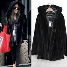 Fashion Women Winter Black Parka Warm Faux Fur Long Sleeve Hooded Jacket Coat