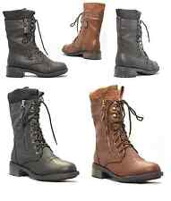 Women Zipper Round Toe Combat Military Lace Up Sweater Mid Calf Boot Shoe REPLAY