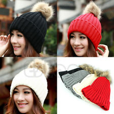 HOT Women Knitting Wool Hats Crochet Beret Ski Beanie Ball Hat Warm Winter Caps