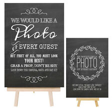 Vintage Shabby Chalkboard Style Metal Photo Booth Sign & Easel for Wedding Props