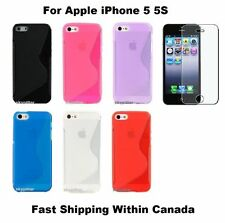 Blue TPU S Shape Soft Back Case Cover for Apple iPhone 5 5G 5S 5GS + Protector