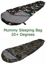 Sleeping Bag, 20+ Degree Camo Mummy Style, Great For Camping, Hunting & Hiking