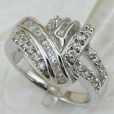Size 7.5 8.5 Classical Nice White Multi CZ Gems Gold Filled Woman Ring K1711