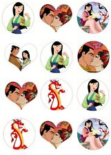 12 Disney princess Mulan round heart stickers matt gloss and tshirt transfer