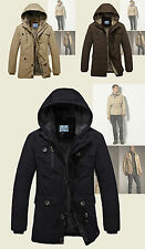 Mens G Black A Star Trench Military Fur Padded Hooded Winter Parka Coat Jacket