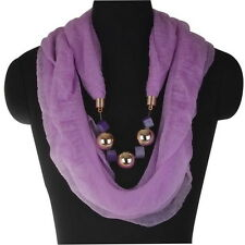 Elastic Resin Stole Scarf Neck Shawl Wrap Solid Collar Pendant Necklace Z294
