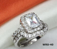 HALO EMERALD CUT CZ 925 STERLING SILVER ENGAGEMENT RING WEDDING RING SET WRS40XH