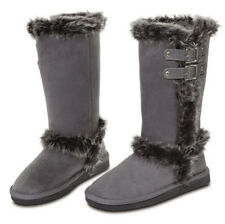 New Womens Winter Fur Boots Faux Suede Mid Calf Fashion Buckle Warm Shoes