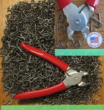 "USA Hog Ringer Pliers &150pcs 3/4"" Hog Rings Netting Fence Cages Car Upholstery"