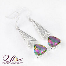 Woman Christmas Gorgeous Rainbow Colored Topaz Gems 925 Sterling Silver Earrings