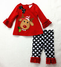 2Pcs Baby Girl Clothes Kids Christmas Sets T-Shirt + Pants Outfits Size 6M-3 Y