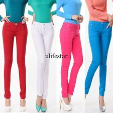 WOMEN Stretch Candy Pencil Pants Casual Slim Fit Skinny Jeans Trousers 4 Colors