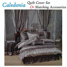 CALEDONIA Black Silver -Choice Quilt Cover Set, Valance, Cushion Cover, Tableclo
