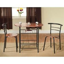 3 Piece Bistro Set Furniture Table 2 Chairs Dining Home Kitchen Wood Metal NEW