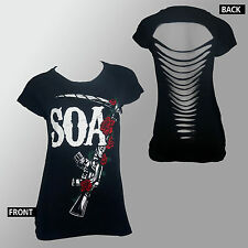 Authentic SONS OF ANARCHY SOA M16 Roses Juniors Laser Cut T-Shirt S-2XL NEW