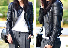 women Lady Quilted Faux PU Leather Biker Jacket Coat  Top Star Collection