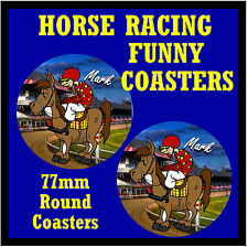 HORSE RACING (PERSONALISED) - SET OF FUNNY NOVELTY COASTERS - XMAS / NEW