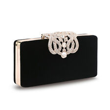 Women's Crystal Crown Clutch HandBag Velour  Shoulder Chain Bag Wallet Purse Cyq