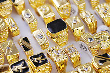 Wholesale Lots Mixed Jewelry Mens Vintage Gold Plated Rhinestone Cool Rings Free