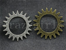 15pcs Antique Silver/Bronze Lovely Filigree Gear Charms Pendant 23mm(Lead Free)