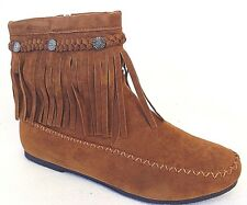 New-Womens-Cute--Faux-Suede-Fringe-Tassle-Moccasin-Ankcle-Dress-Booties