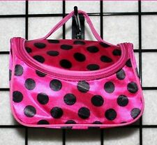 Pink Make Up Case with Black Dots Zippered Purse Style with Mirror Carrying Case