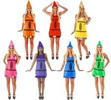 Ladies Crayon Costume + Hat Adult Hen Party Womens Fun Fancy Dress Outfit