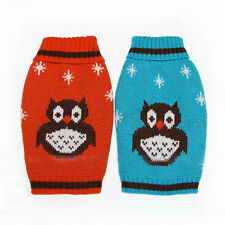 Cute OWL Snowflake Puppy Pet Cat Dog Knit Crochet Sweater Coat Clothes Christmas