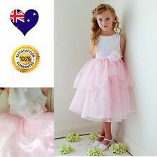 White & Pink Flower Girl Dress, Satin&Organza Girls Party Special Occasion Dress