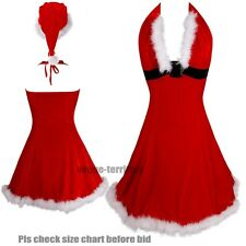 Deep V Valentine Sexy red velvet Santa Christmas holiday Corset dress Faux Fur