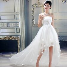 New Women's Bow Flower Petals Floral Lace Peacock Long Tail Wedding Dress