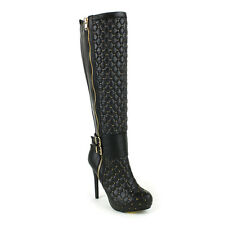 FAHRENHEIT MAXIN-01A Women's Stiletto Heel Ankle Strap Quilt Vamp Knee High Boot