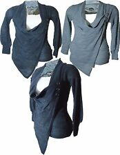 WOMEN LADIES COWLNECK ASYMETRIC  WRAP-OVER  KNITTED BUTTON DRESS JUMPER TOP 8-14