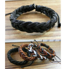 Mens Womens Wrap Braided Leather Bracelet Cuff Bangle Wristband Adjustable Cool