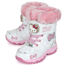 Sanrio Hello Kitty Girls Snow Boots Kids Light Up Winter White Shoes