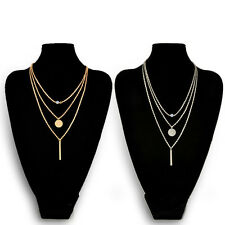 Trendy Multilayer Necklace Women Jewelry Gold Sequins Chic Geometry Pendant Hot