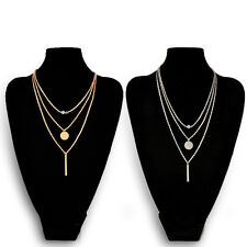 Luxury Style Stick+ Sequin Pendant Multilayer Short Clavicle Necklace Women Gift