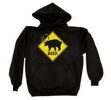 Beer Bear Antlers Funny Hunting College Party Drinking Novelty Mens Hoodie